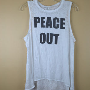 Chaser Women's Graphic White Peace Out Tank Top
